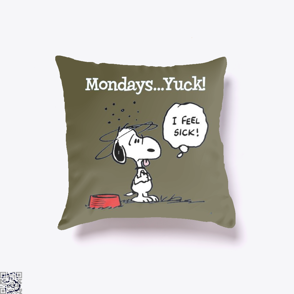 Mondays Yuck, Snoopy Throw Pillow Cover