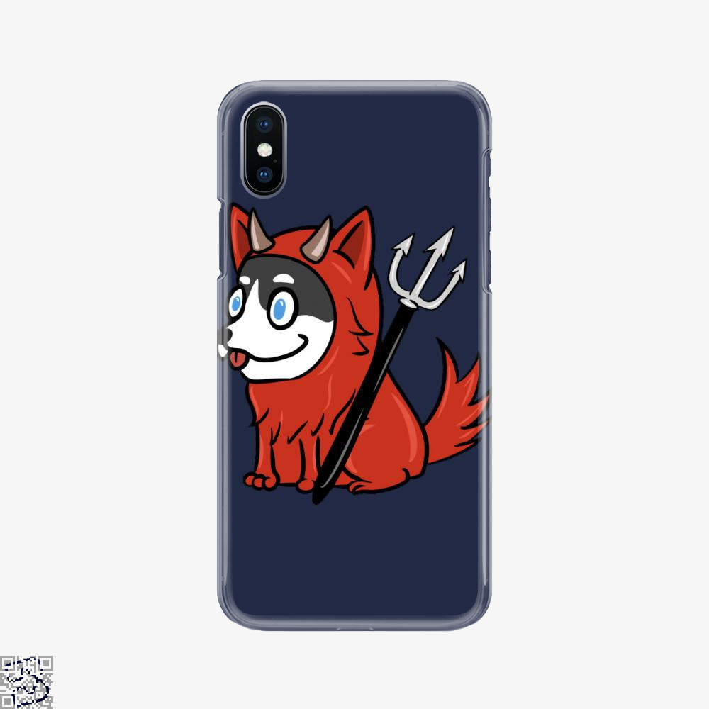Funny Husky Scary Devil Costume Halloween, Husky Phone Case