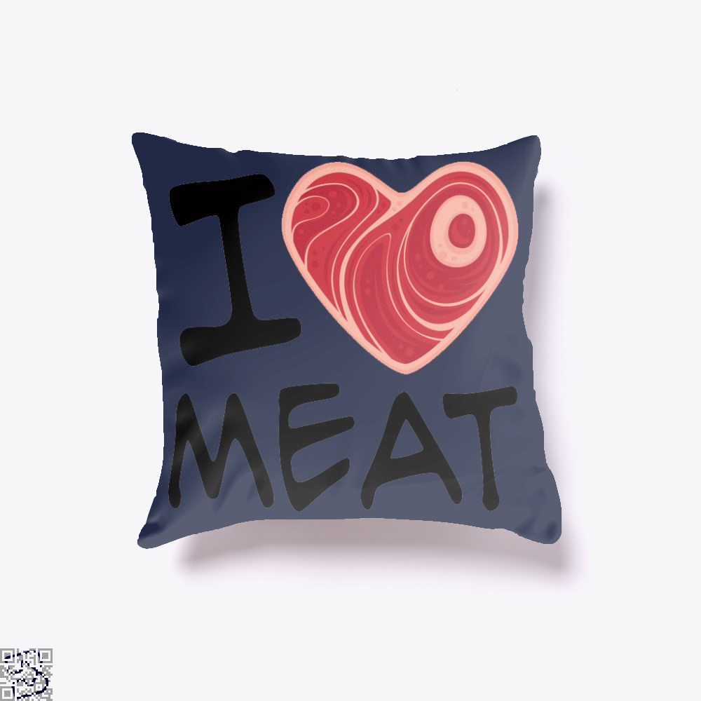 I Love Meat, Bacon Throw Pillow Cover