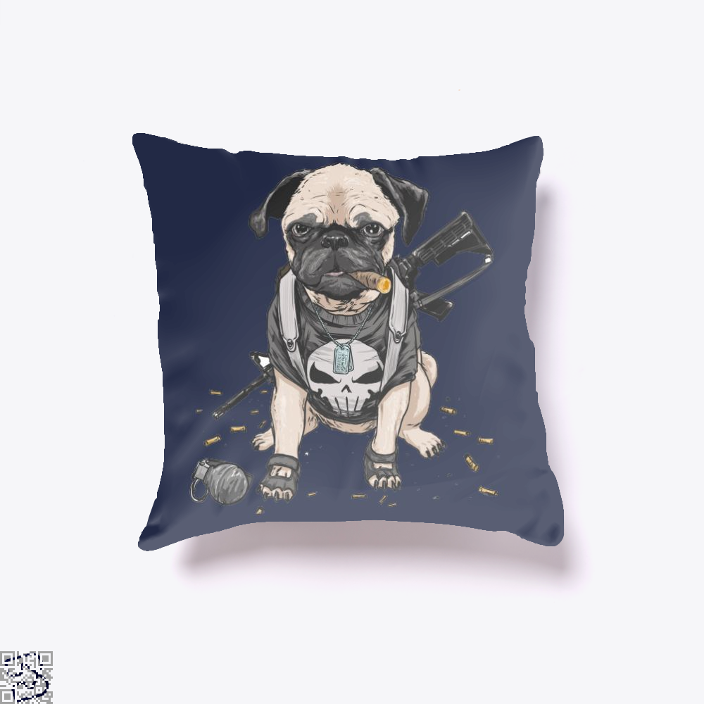 The Pugnisher, Pug Throw Pillow Cover