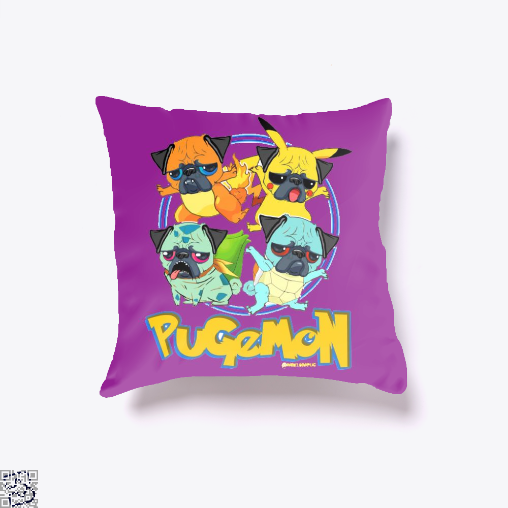 Pugachu, Pug Throw Pillow Cover