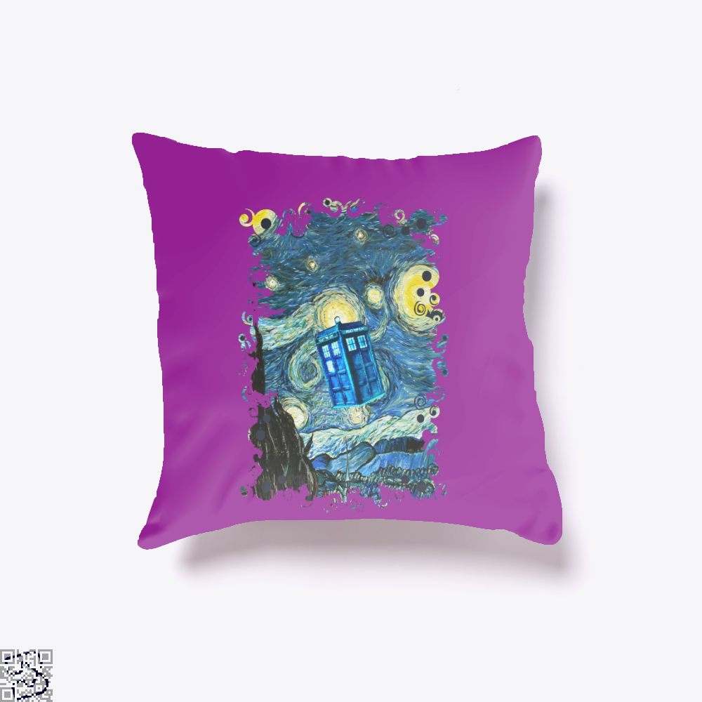 Soaring Blue Phone Box, Doctor Who Throw Pillow Cover