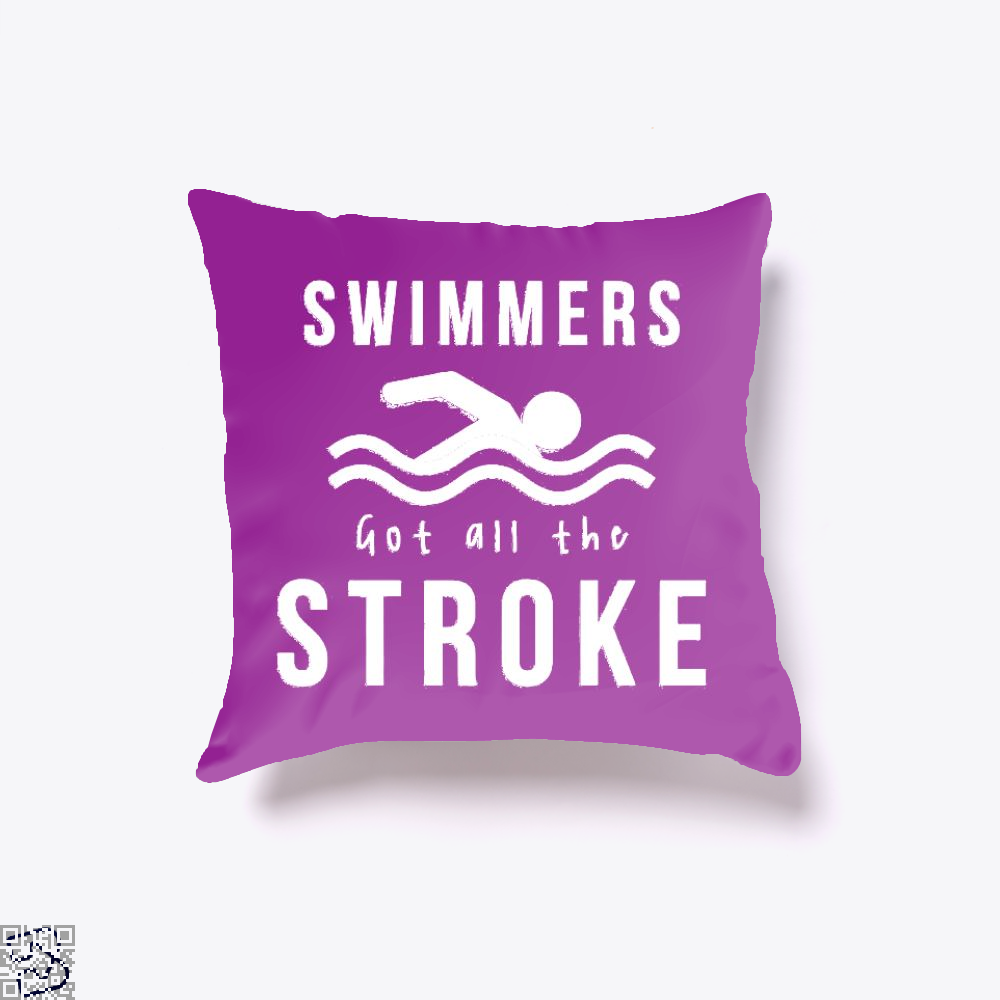 Swimmers Got All The Stroke, Swim Throw Pillow Cover