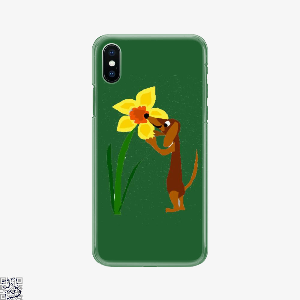 Funny Cute Dachshund Dog And Daffodil Flower, Dachshund Phone Case