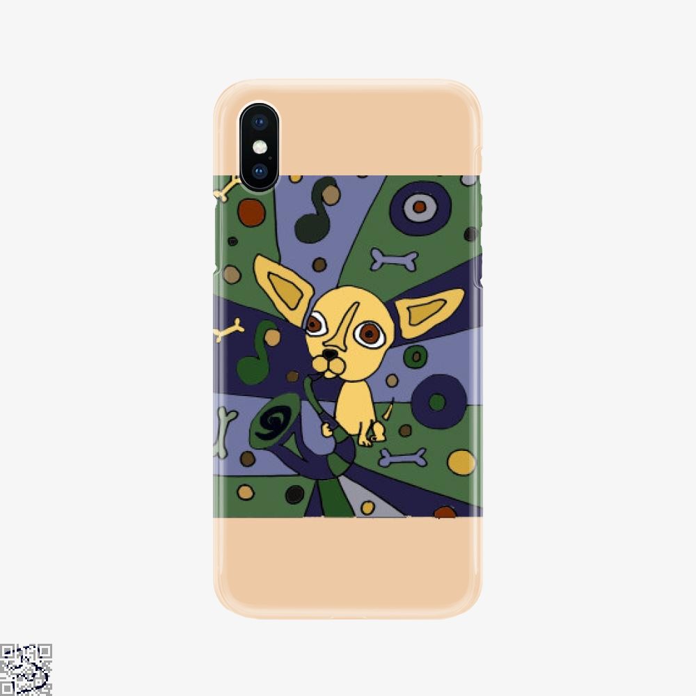 Artsy Funny Chihuahua Dog Playing Saxophone Abstract, Chihuahua Phone Case