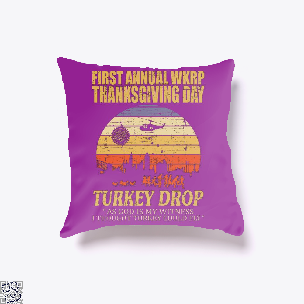 Thanksgiving Wkrp Turkey Drop Distressed, Turkey Throw Pillow Cover