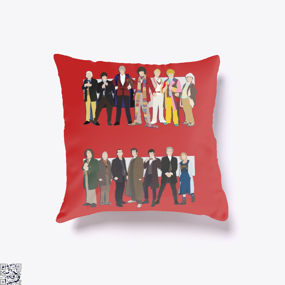 The Classic And Modern Doctors, Doctor Who Throw Pillow Cover