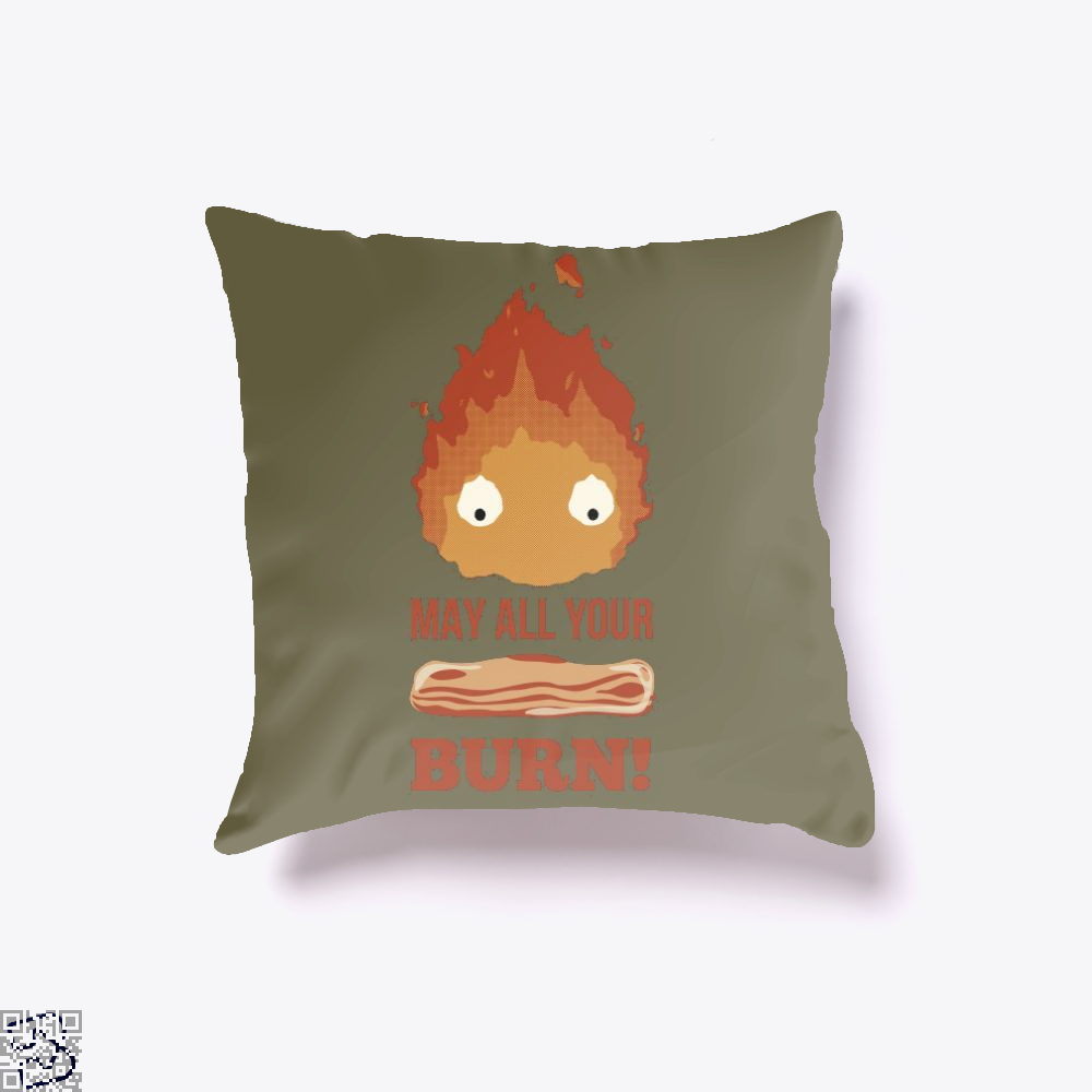 May All Your Bacon Burn, Bacon Throw Pillow Cover
