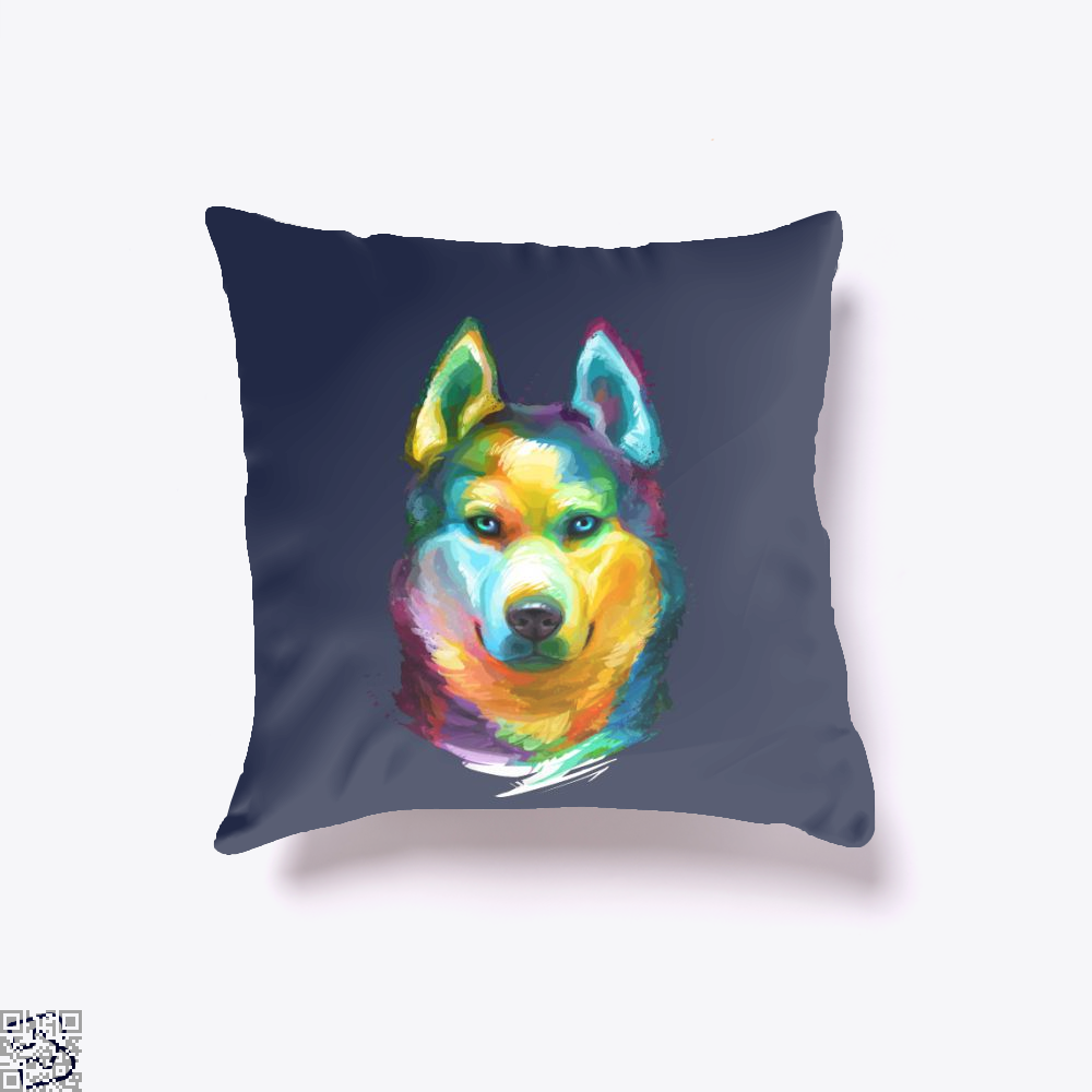 Siberian Husky Colorful Portrait, Husky Throw Pillow Cover