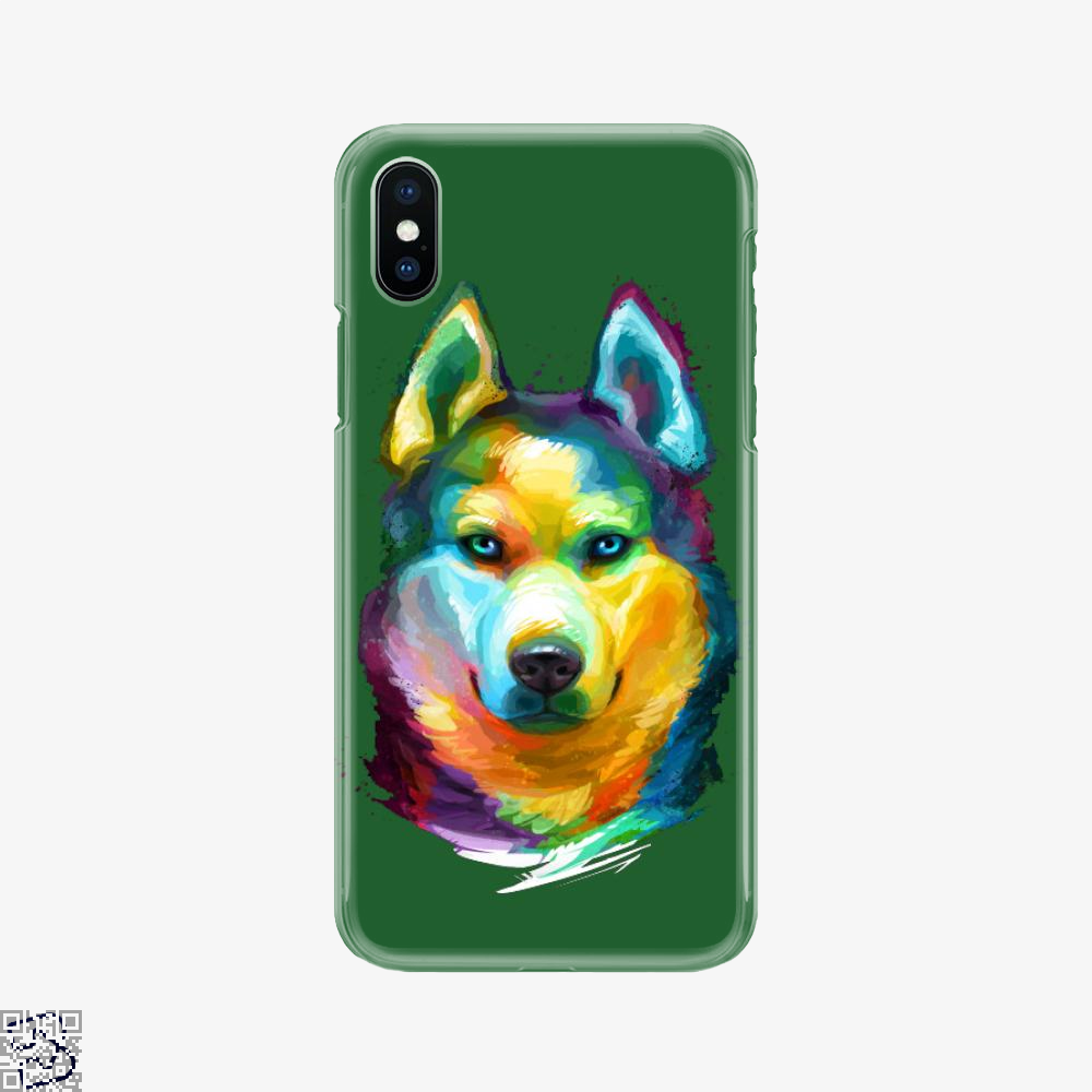 Siberian Husky Colorful Portrait, Husky Phone Case