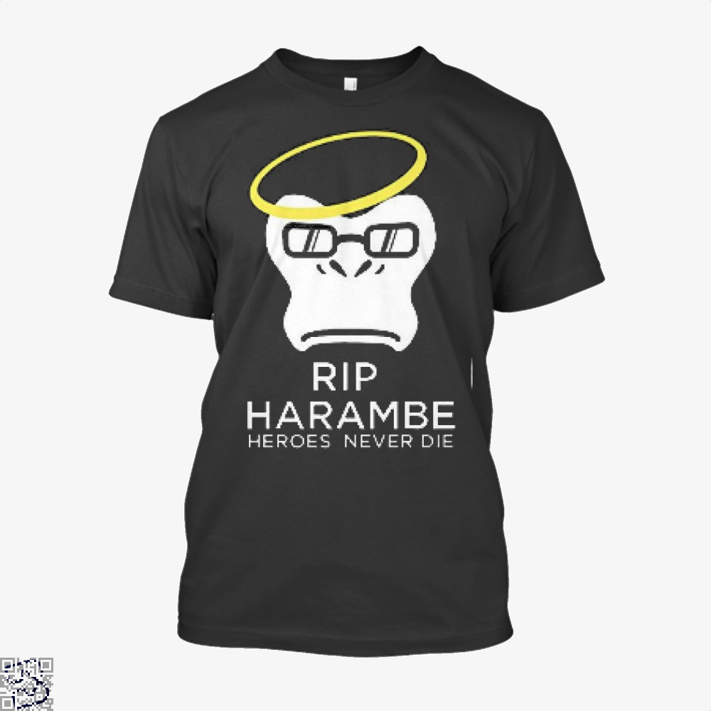 Harambe Heroes Never Die Overwatch Deadpan Shirt - Men / Black / X-Small - Productgenjpg