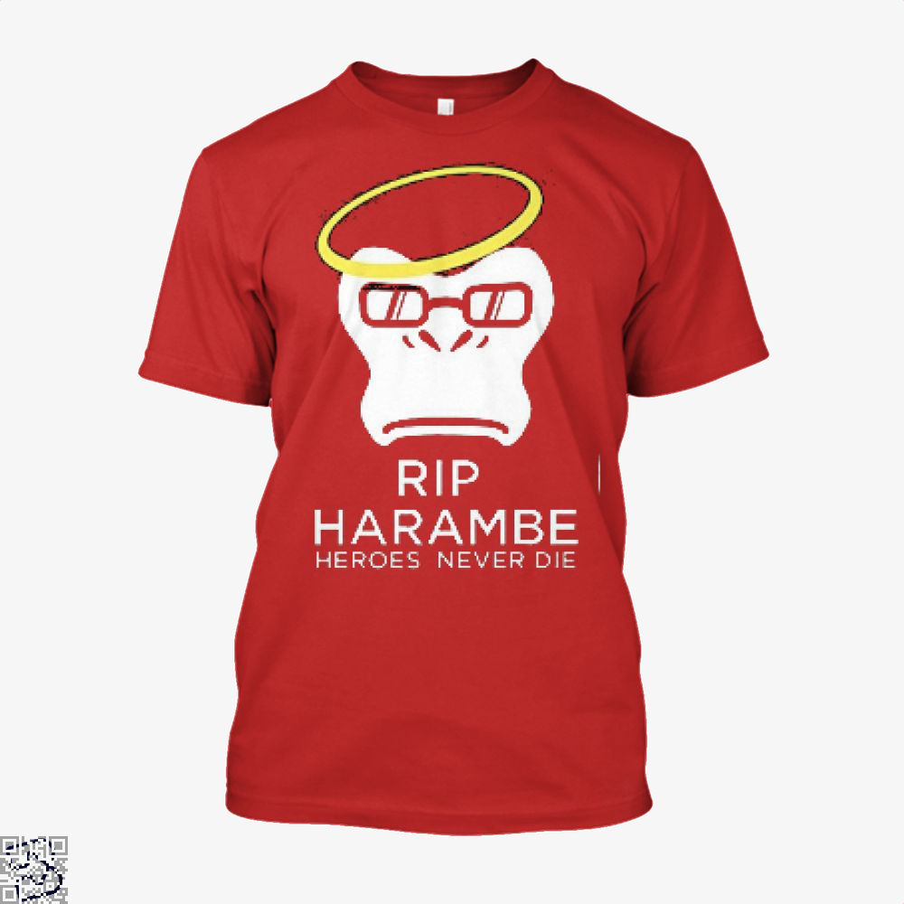 Harambe Heroes Never Die Overwatch Deadpan Shirt - Men / Red / X-Small - Productgenjpg