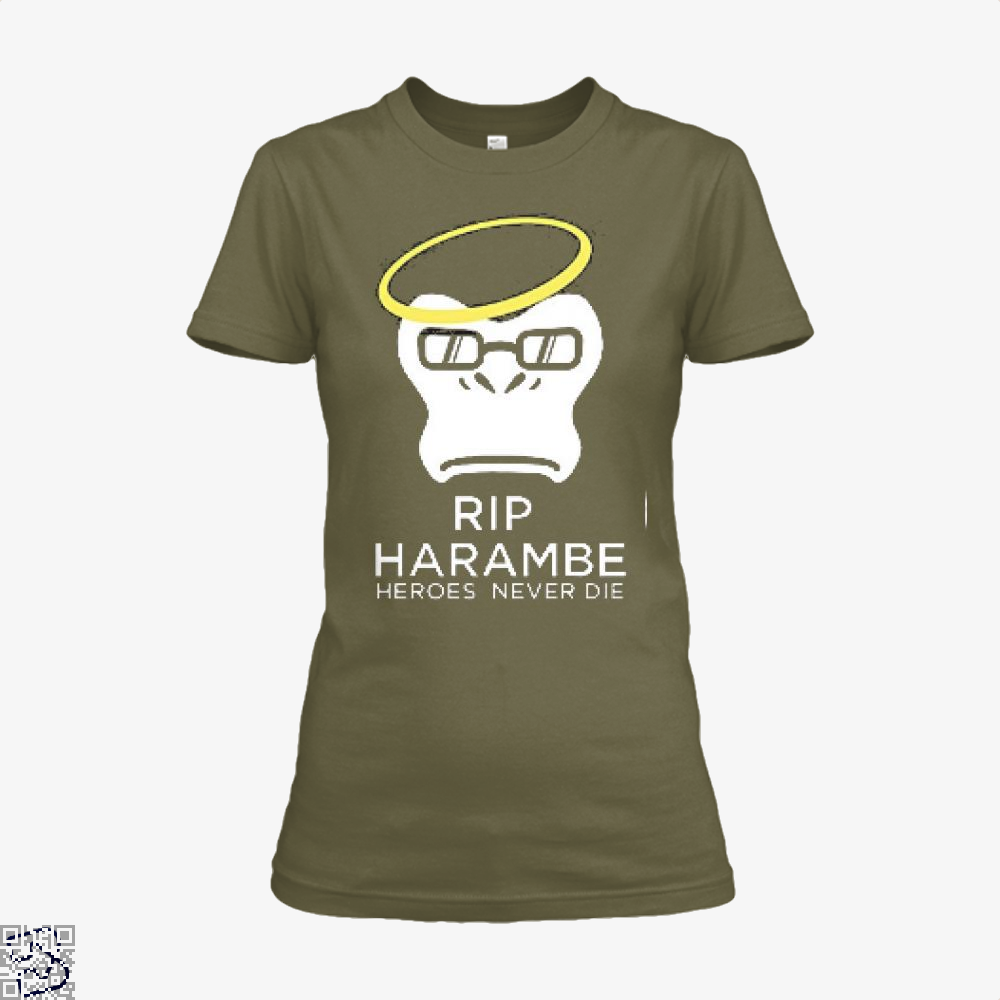 Harambe Heroes Never Die Overwatch Deadpan Shirt - Women / Brown / X-Small - Productgenjpg