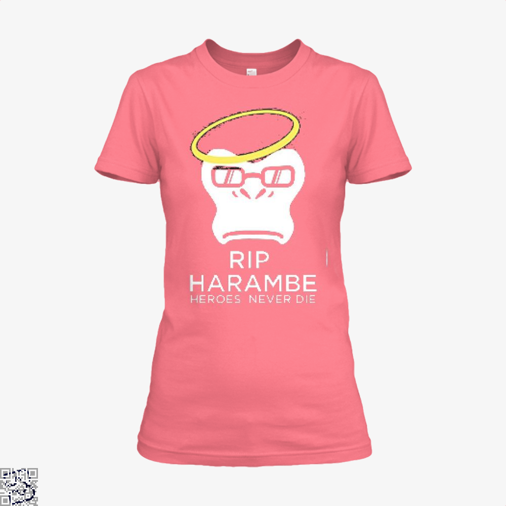 Harambe Heroes Never Die Overwatch Deadpan Shirt - Women / Pink / X-Small - Productgenjpg