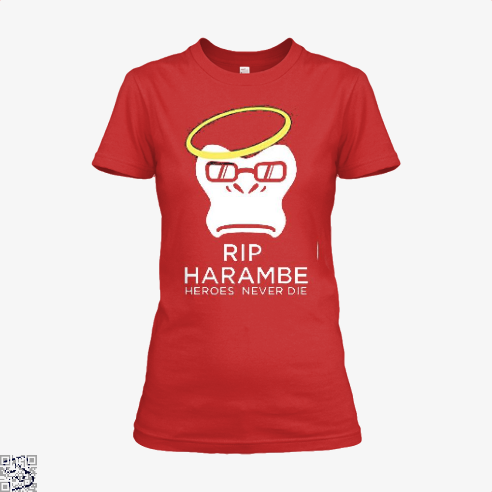Harambe Heroes Never Die Overwatch Deadpan Shirt - Women / Red / X-Small - Productgenjpg