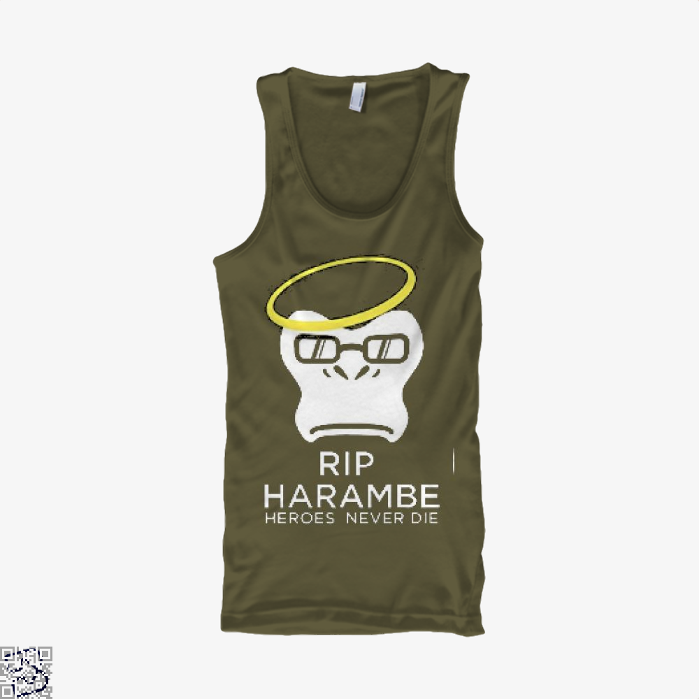 Harambe Heroes Never Die Overwatch Deadpan Tank Top - Men / Brown / X-Small - Productgenjpg