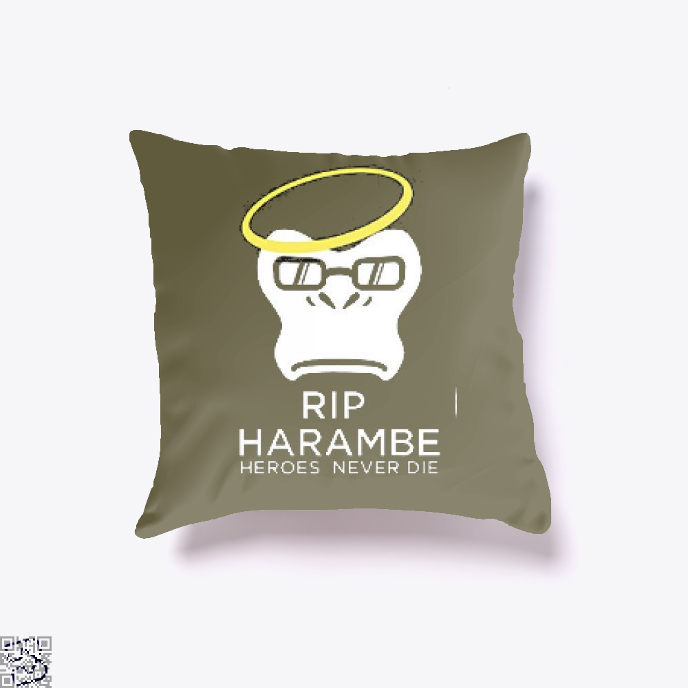 Harambe Heroes Never Die Overwatch Deadpan Throw Pillow Cover - Brown / 16 X - Productgenjpg