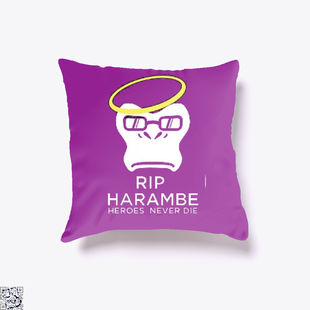 Harambe Heroes Never Die Overwatch Deadpan Throw Pillow Cover - Productgenjpg