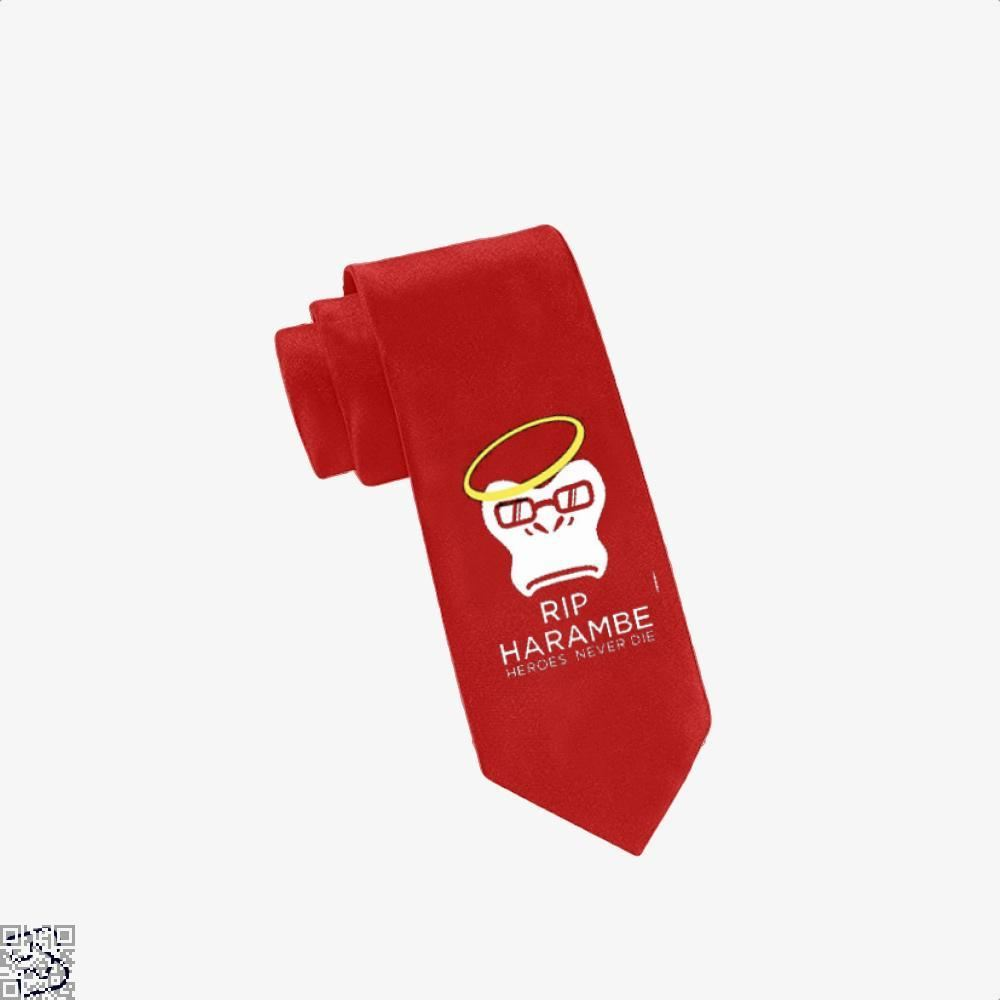 Harambe Heroes Never Die Overwatch Deadpan Tie - Red - Productgenjpg