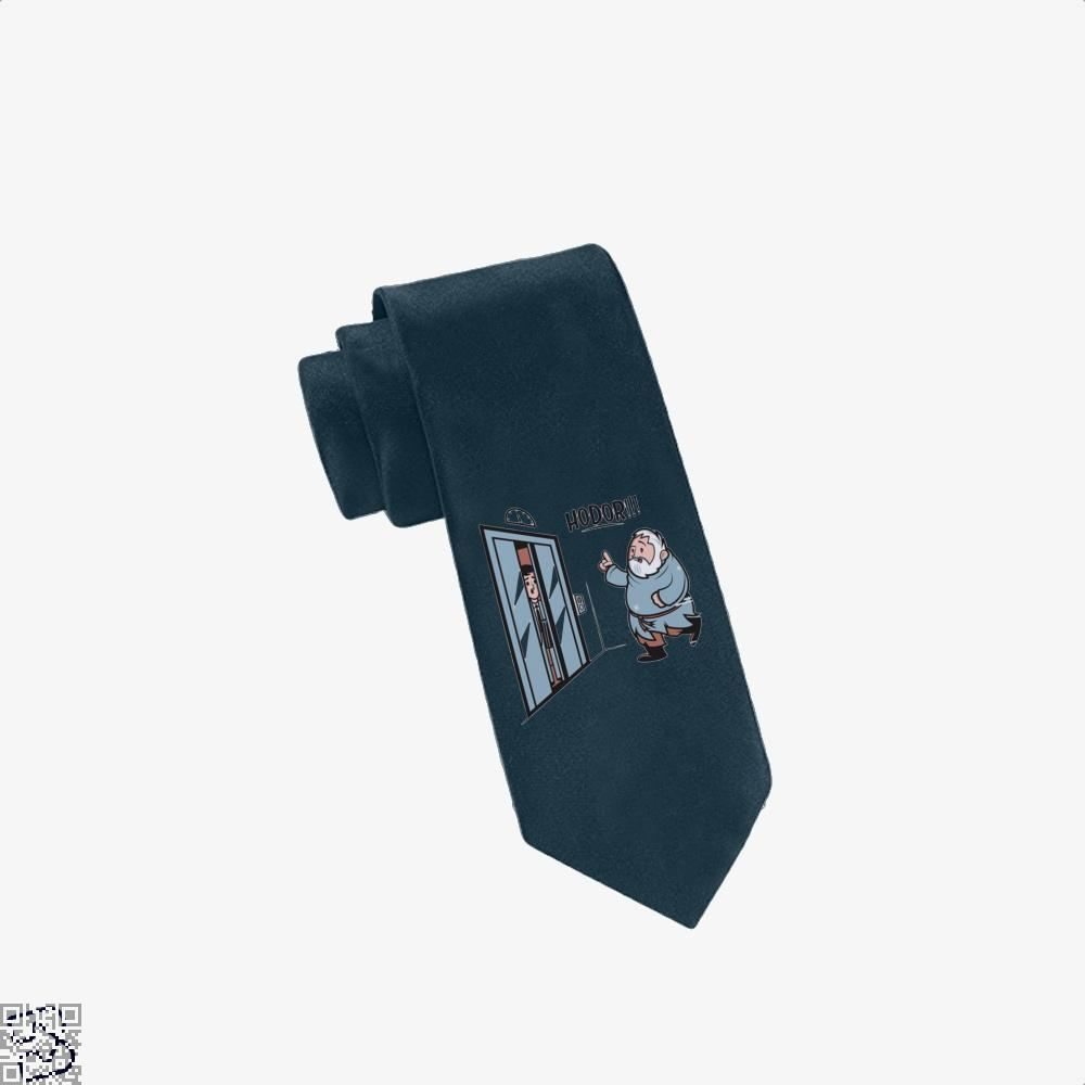 Hodor!!! Hold On The Elevator Game Of Thrones Tie - Navy - Productgenjpg