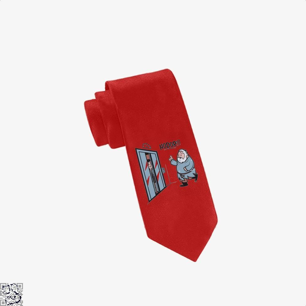 Hodor!!! Hold On The Elevator Game Of Thrones Tie - Red - Productgenjpg
