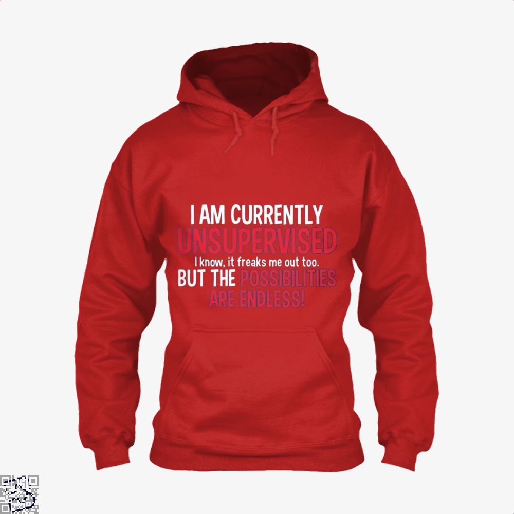 I Am Currenty Unsupervised Anecdotal Hoodie - Red / X-Small - Productgenjpg