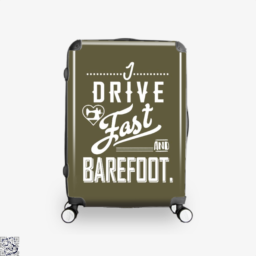 I Drive Fast And Barefoot Sewing Suitcase - Brown / 16 - Productgenjpg