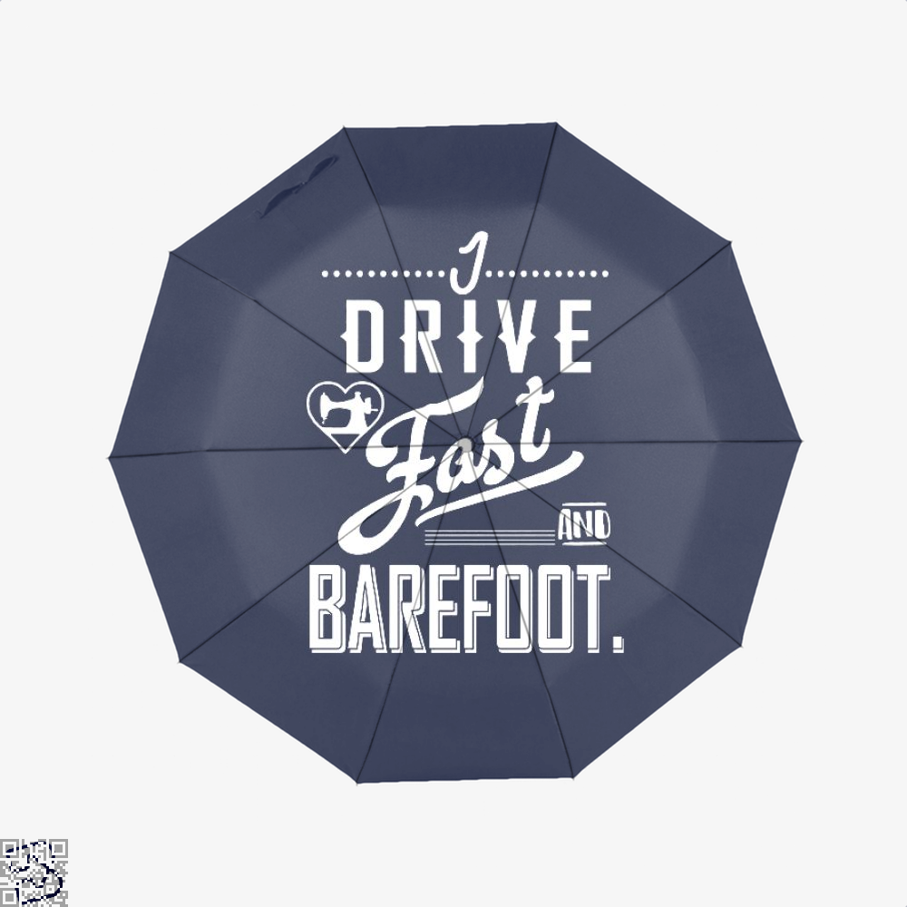 I Drive Fast And Barefoot Sewing Umbrella - Blue - Productgenjpg