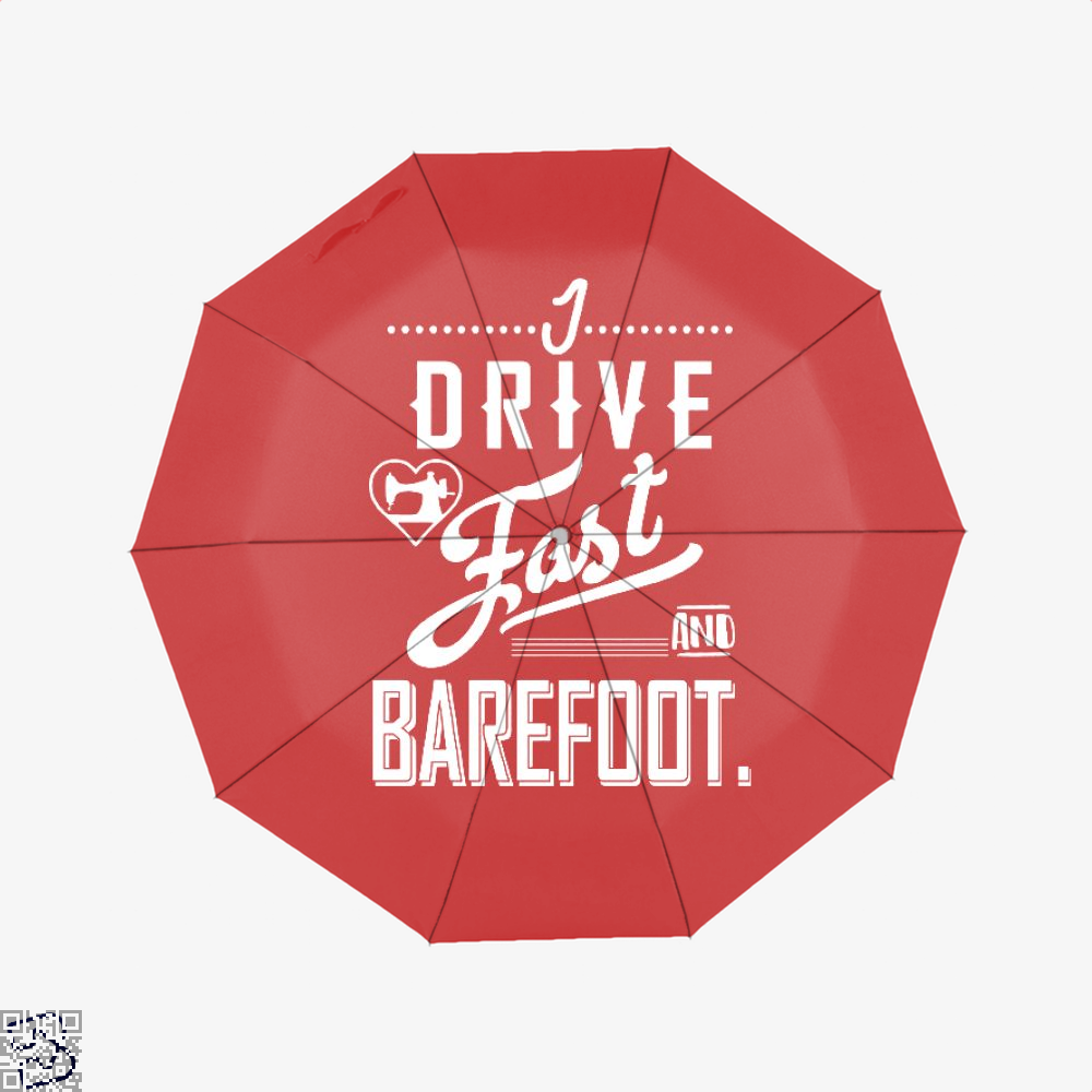 I Drive Fast And Barefoot Sewing Umbrella - Red - Productgenjpg