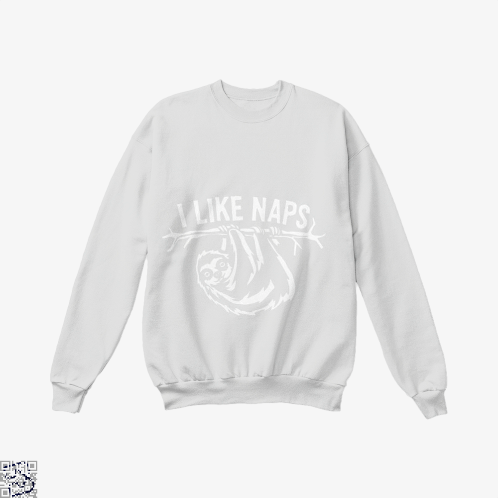 I Like Naps Sloth Napping Crew Neck Sweatshirt - White / X-Small - Productgenapi