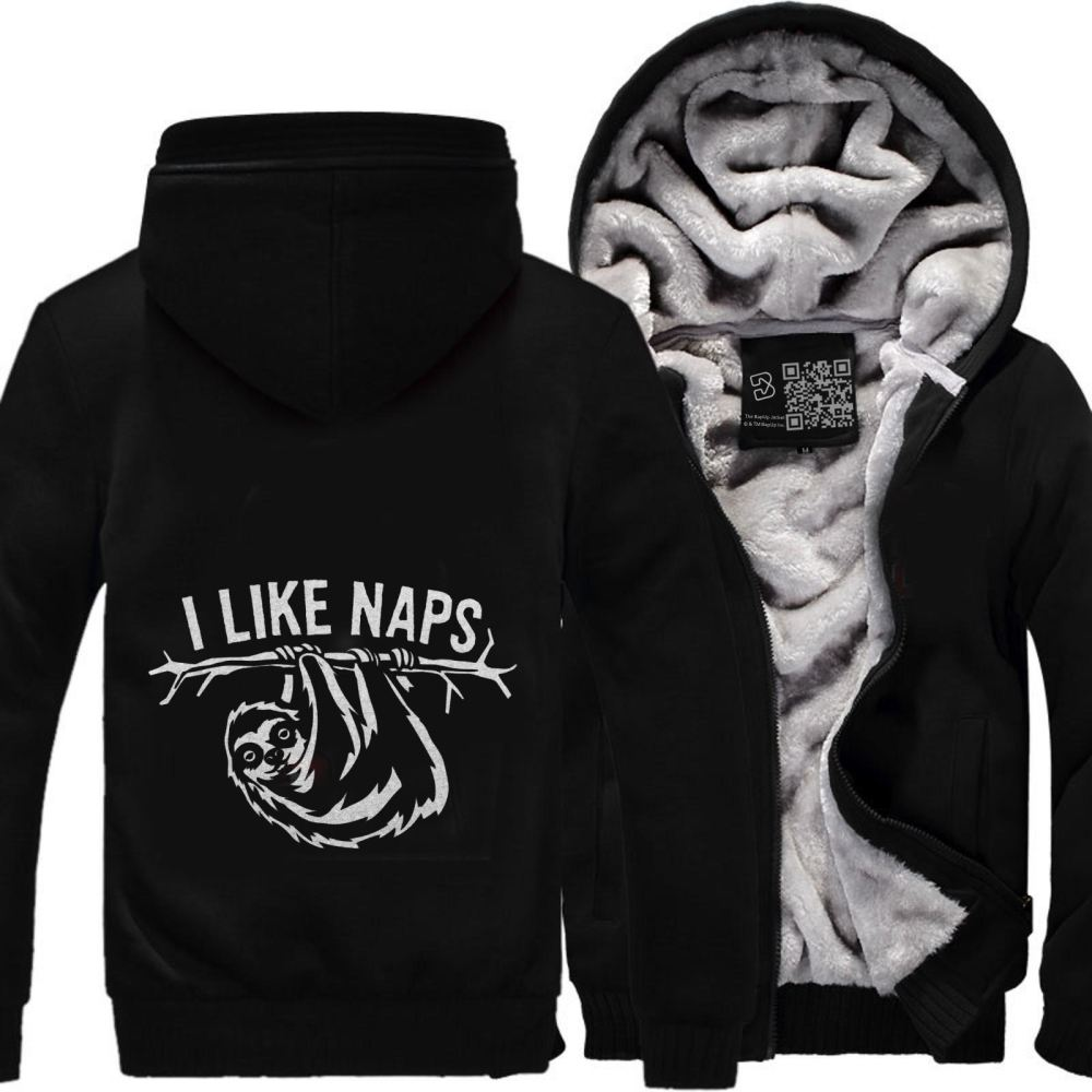 I Like Naps Sloth Napping Fleece Jacket - Black / X-Small - Productgenapi