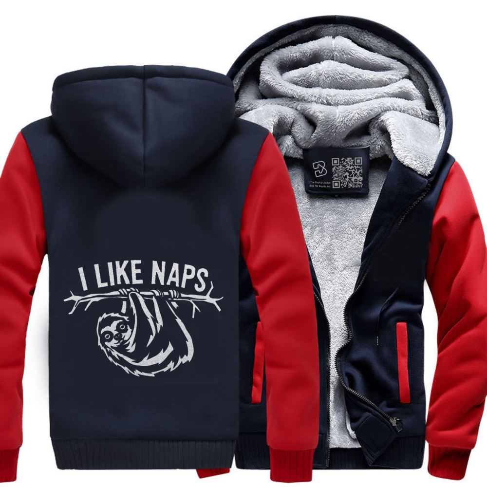 I Like Naps Sloth Napping Fleece Jacket - Red / X-Small - Productgenapi