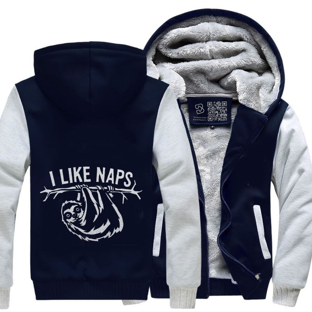 I Like Naps Sloth Napping Fleece Jacket - White / X-Small - Productgenapi