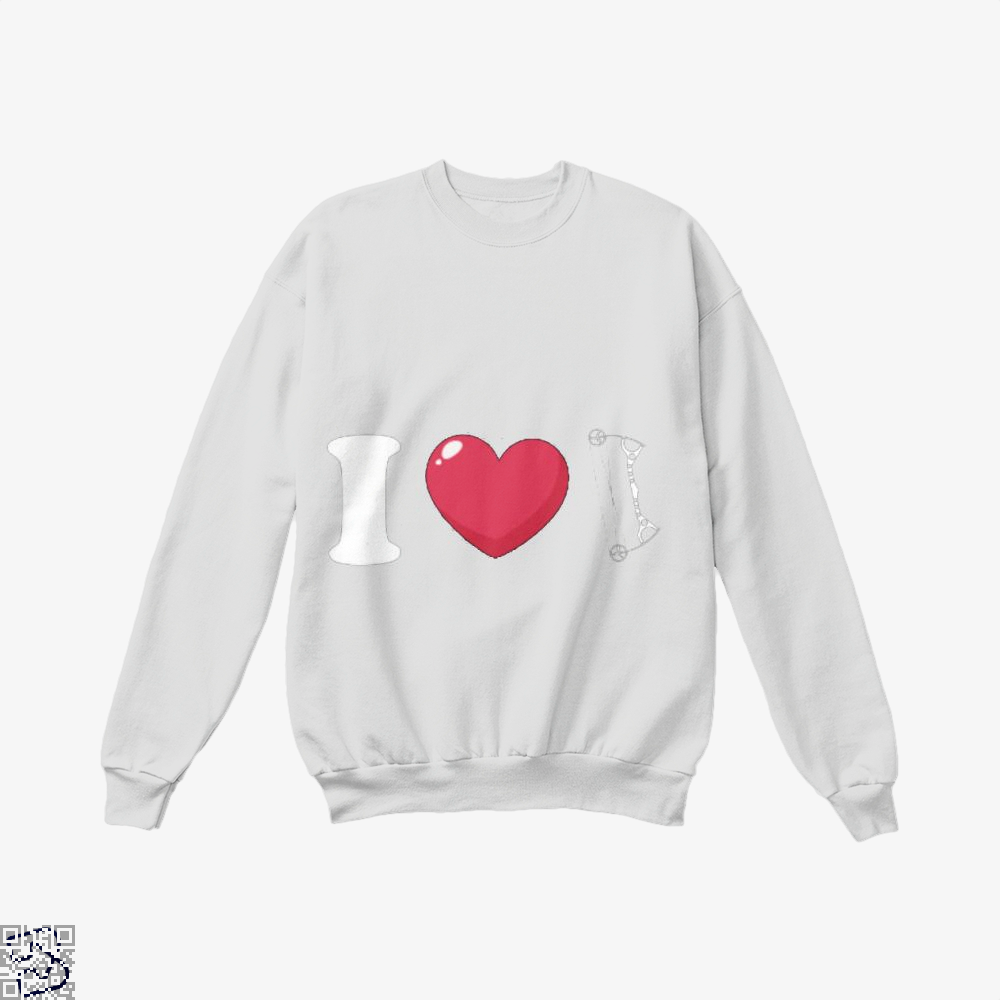 I Love Archery Crew Neck Sweatshirt - White / X-Small - Productgenapi