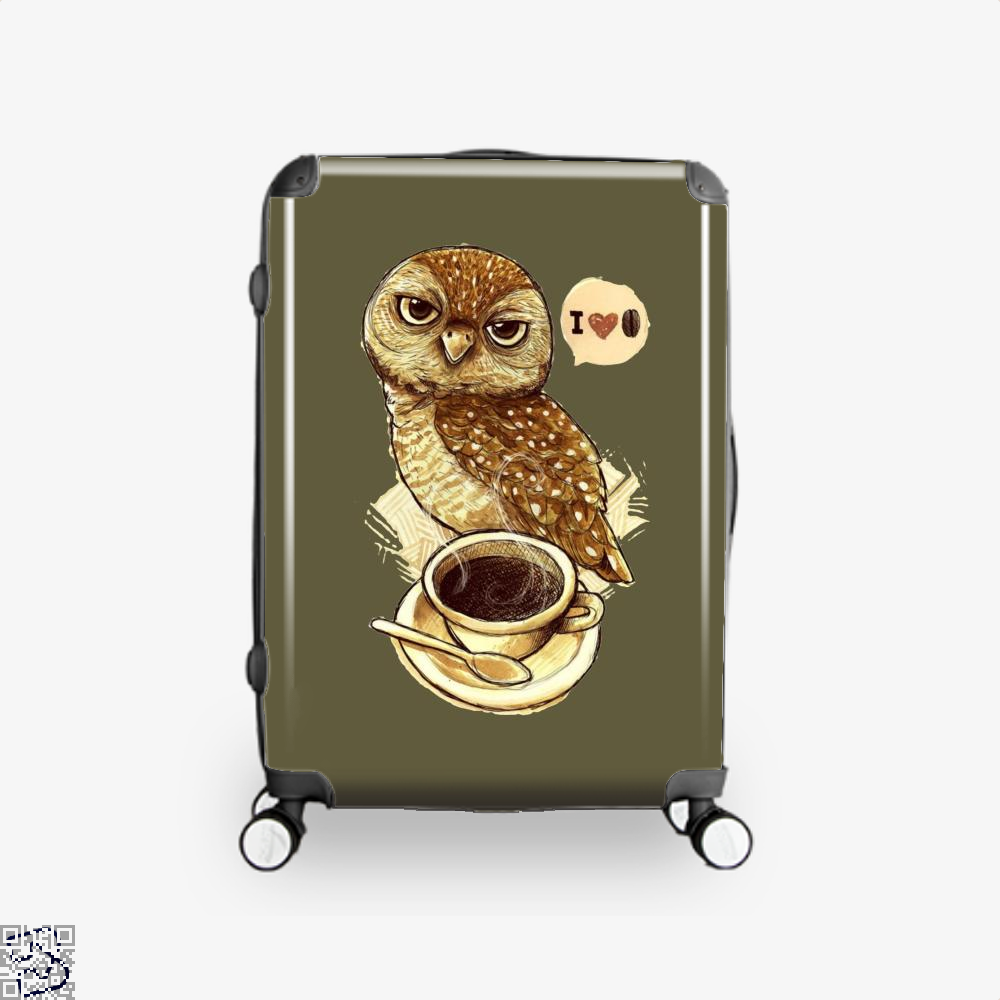 I Love Coffee Owl Suitcase - Brown / 16 - Productgenapi
