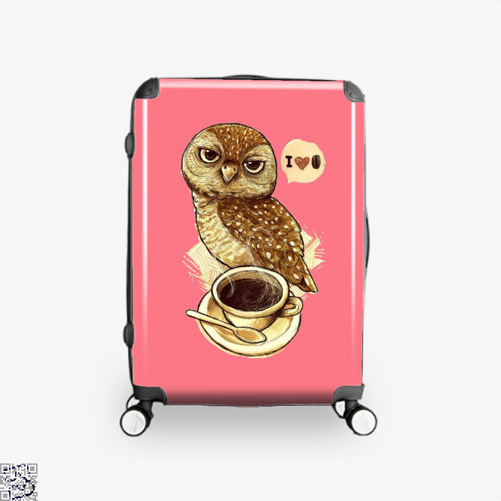 I Love Coffee Owl Suitcase - Pink / 16 - Productgenapi