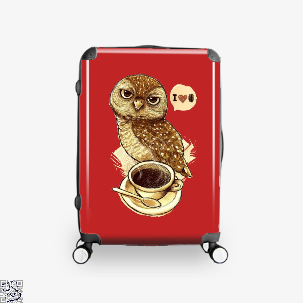 I Love Coffee Owl Suitcase - Red / 16 - Productgenapi