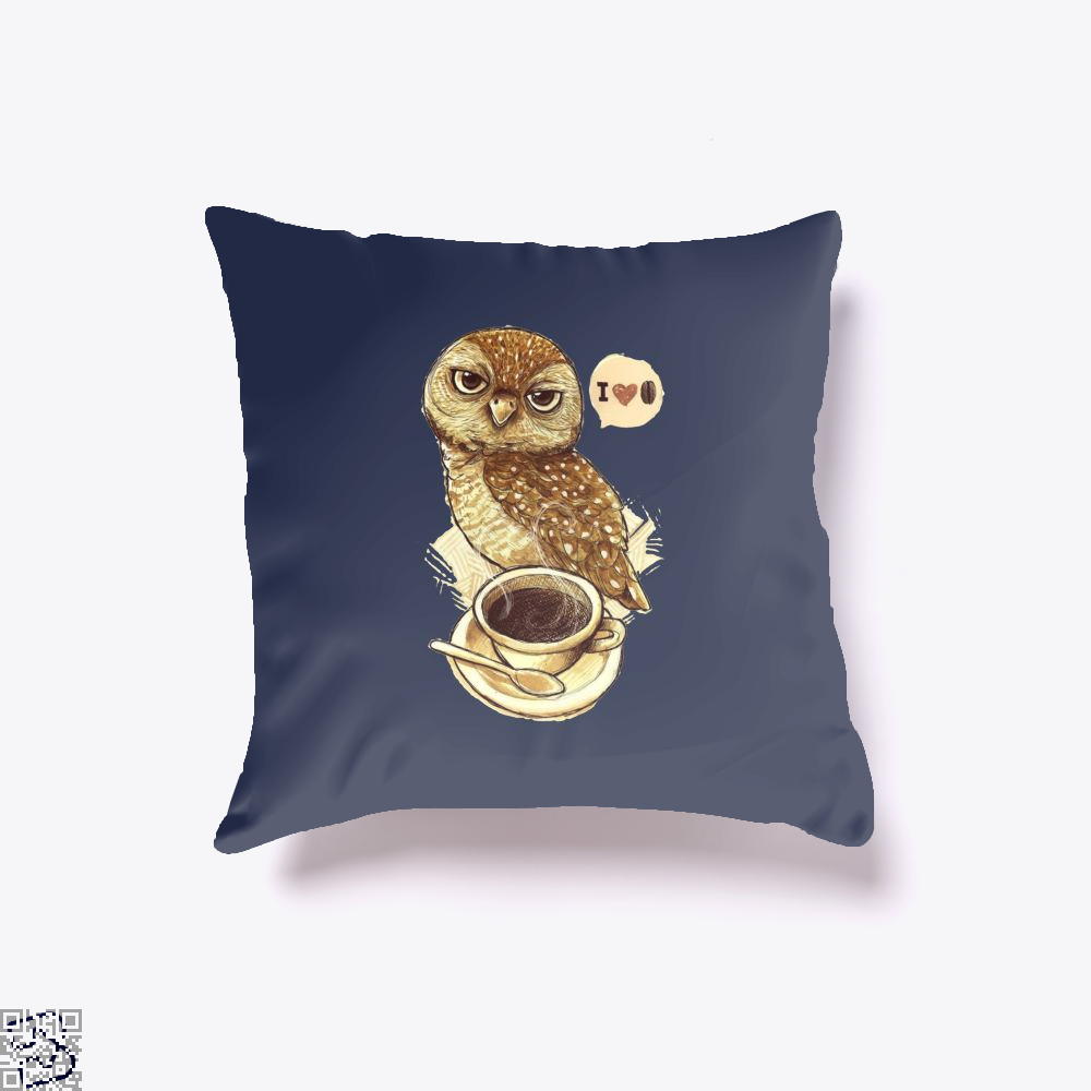 I Love Coffee Owl Throw Pillow Cover - Blue / 16 X - Productgenapi