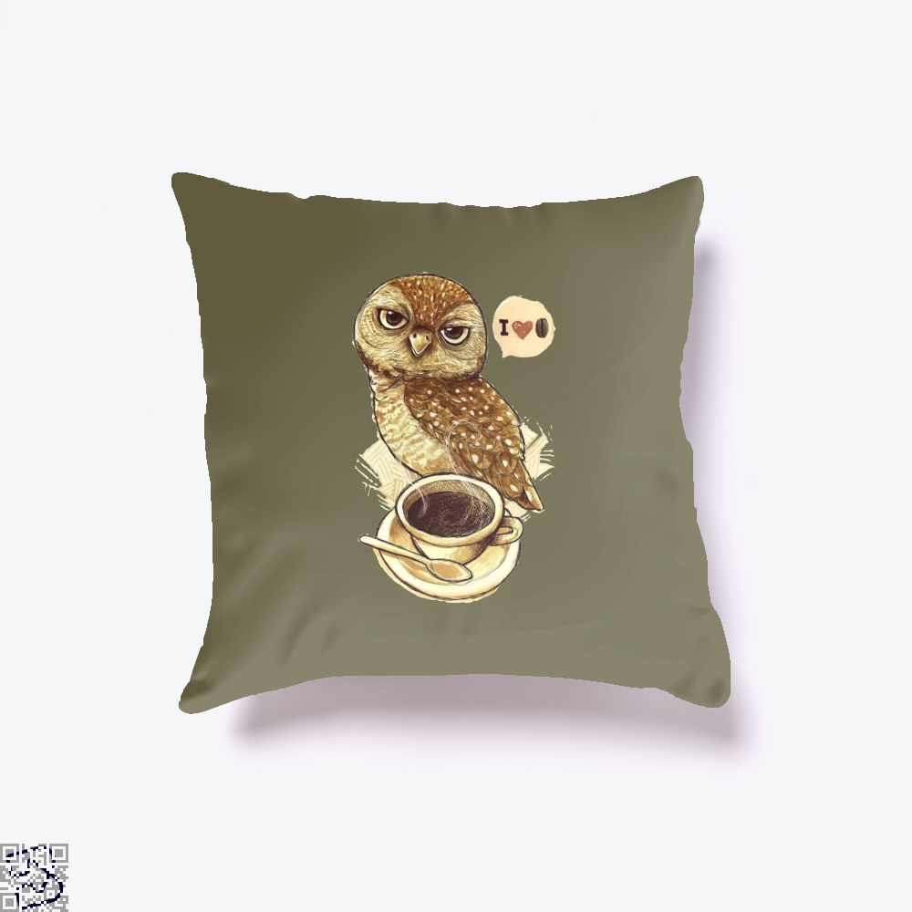 I Love Coffee Owl Throw Pillow Cover - Brown / 16 X - Productgenapi