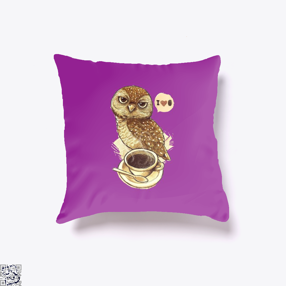 I Love Coffee Owl Throw Pillow Cover - Purple / 16 X - Productgenapi