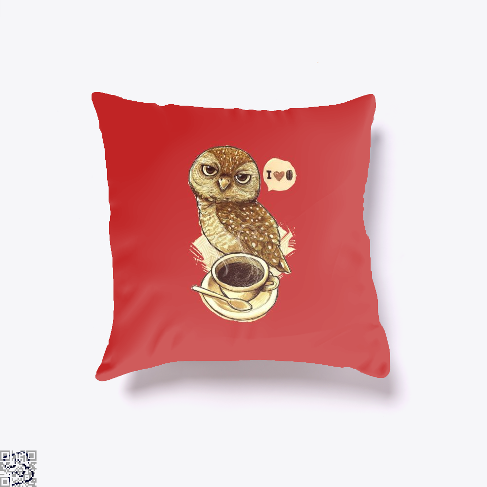 I Love Coffee Owl Throw Pillow Cover - Red / 16 X - Productgenapi