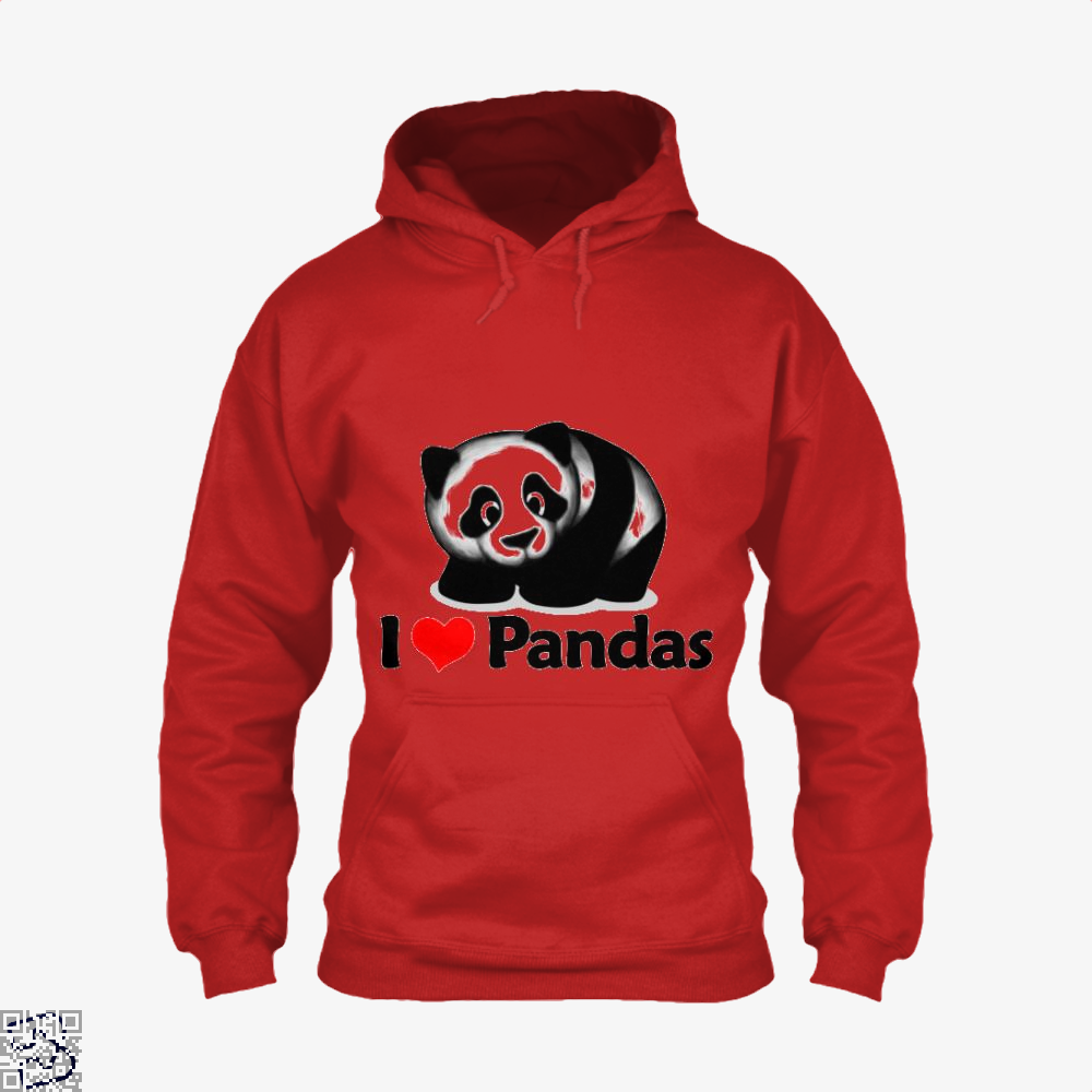 I Love Pandas Panda Hoodie - Red / X-Small - Productgenjpg