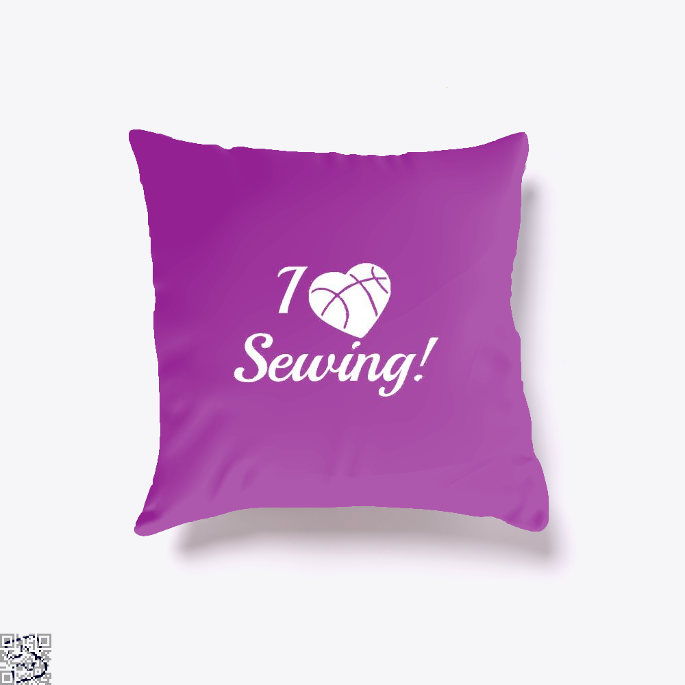 I Love Sewing Heart Crafts Yarn Throw Pillow Cover - Purple / 16 X - Productgenjpg