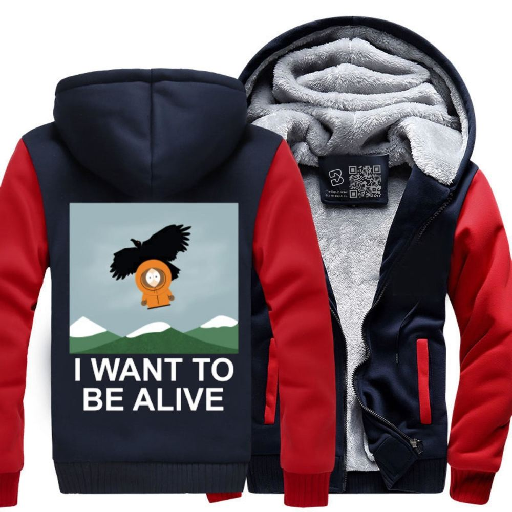 I Want To Be Alive South Park Fleece Jacket - Red / X-Small - Productgenapi
