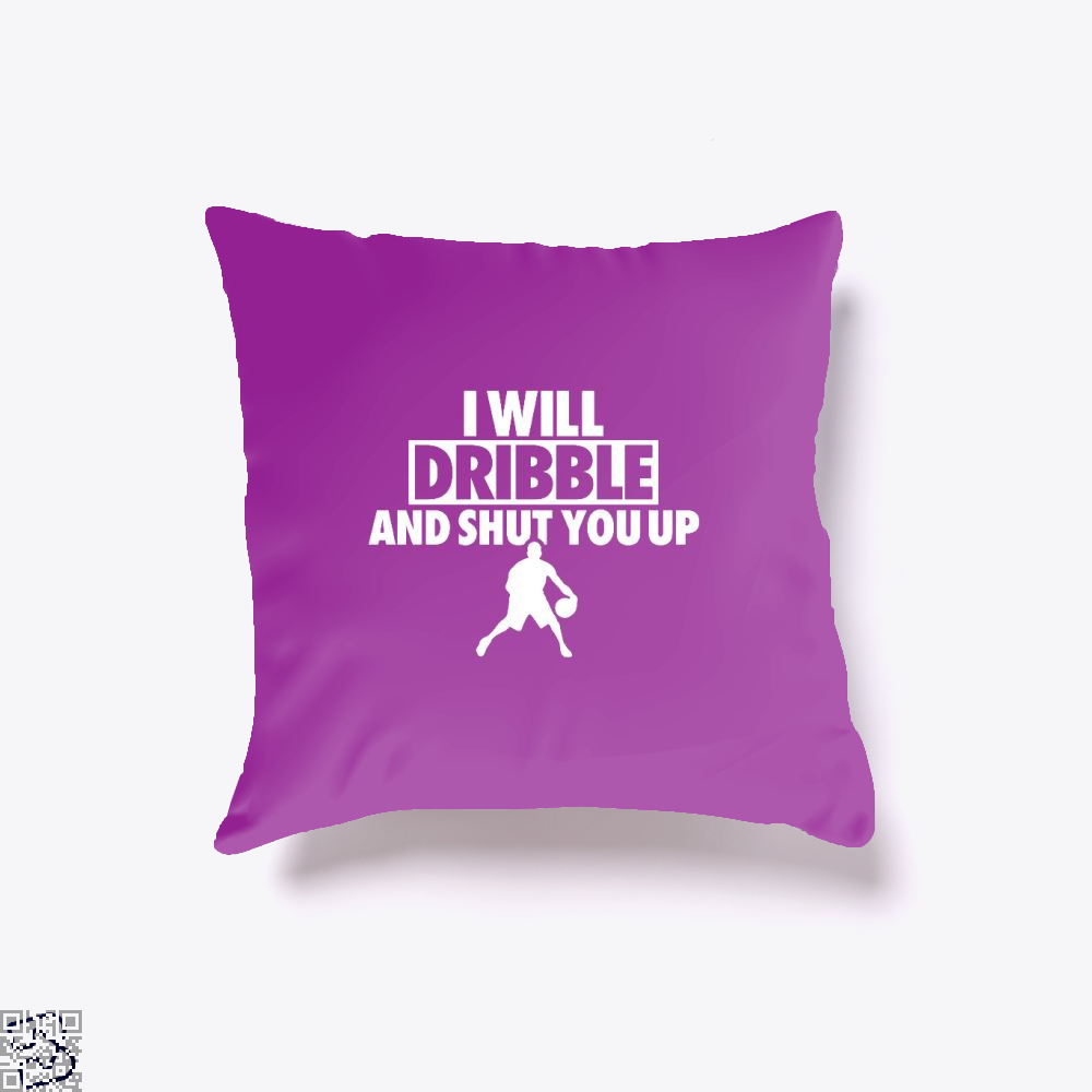 I Will Dribble And Shut You Up Cavs Throw Pillow Cover - Purple / 16 X - Productgenapi