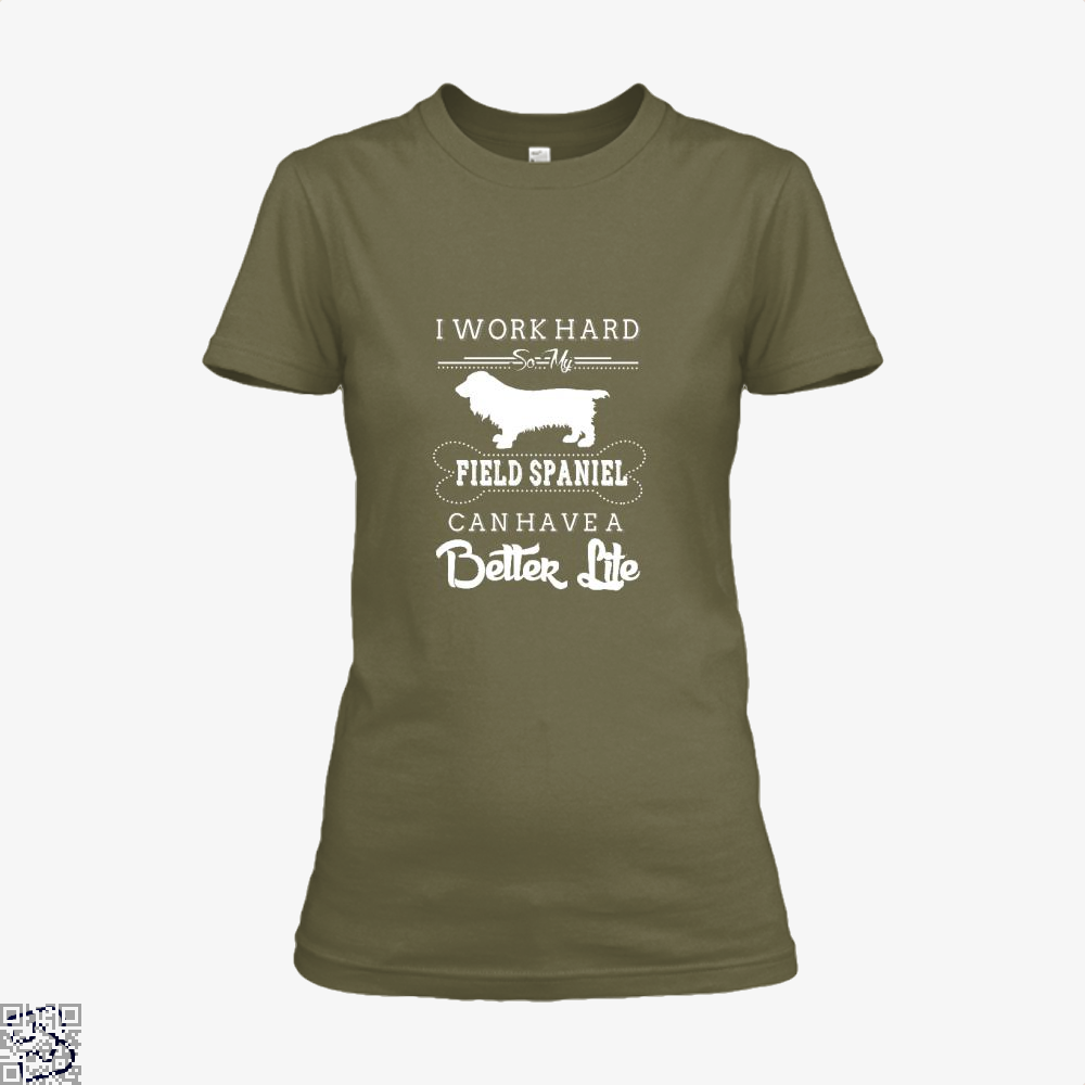I Work Hard So My Field Spaniel Shirt - Women / Brown / X-Small - Productgenapi