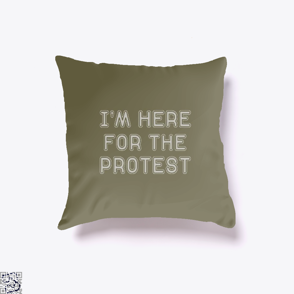 Im Here For The Protest Droll Throw Pillow Cover - Brown / 16 X - Productgenjpg
