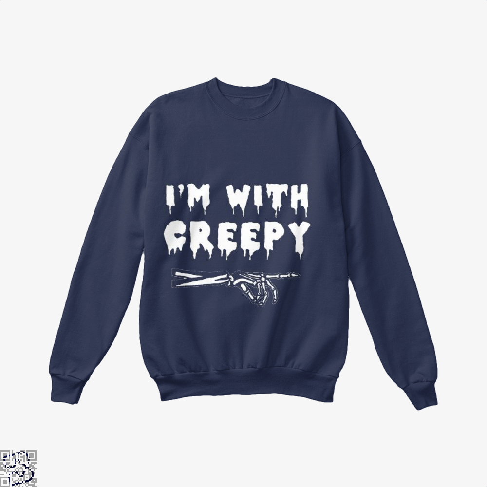 Im With Creepy Hyperbolic Crew Neck Sweatshirt - Blue / X-Small - Productgenjpg