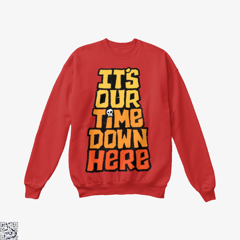 Its Our Time Down Here The Goonies Crew Neck Sweatshirt - Red / X-Small - Productgenapi