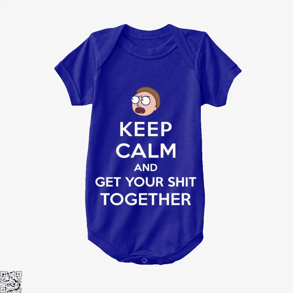 Keep Calm And Get Your Shit Together Rick Morty Baby Onesie - Navy / 0-3 Months - Productgenapi